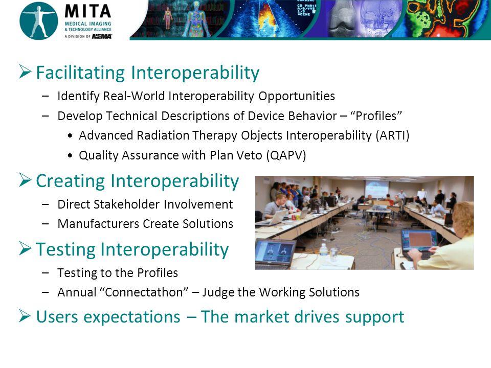 " Facilitating Interoperability –Identify Real-World Interoperability Opportunities –Develop Technical Descriptions of Device Behavior – ""Profiles"" Ad"