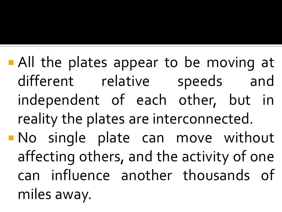  All the plates appear to be moving at different relative speeds and independent of each other, but in reality the plates are interconnected.  No si
