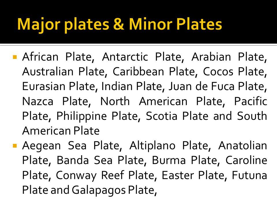  African Plate, Antarctic Plate, Arabian Plate, Australian Plate, Caribbean Plate, Cocos Plate, Eurasian Plate, Indian Plate, Juan de Fuca Plate, Naz
