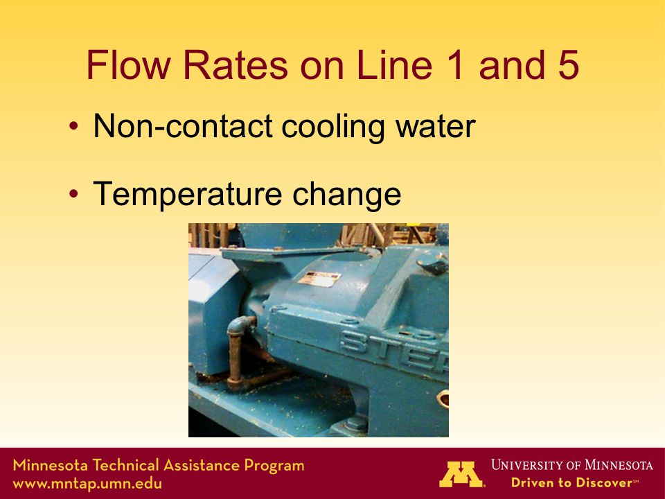 Flow Rates on Line 1 and 5 Non-contact cooling water Temperature change