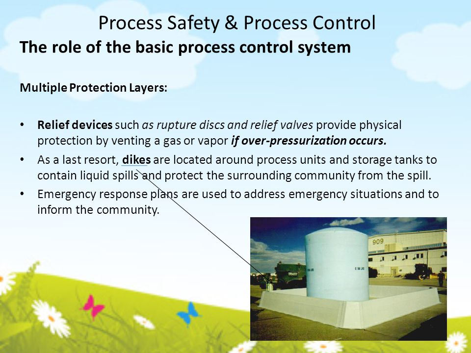 Process Safety & Process Control The role of the basic process control system Multiple Protection Layers: Relief devices such as rupture discs and rel