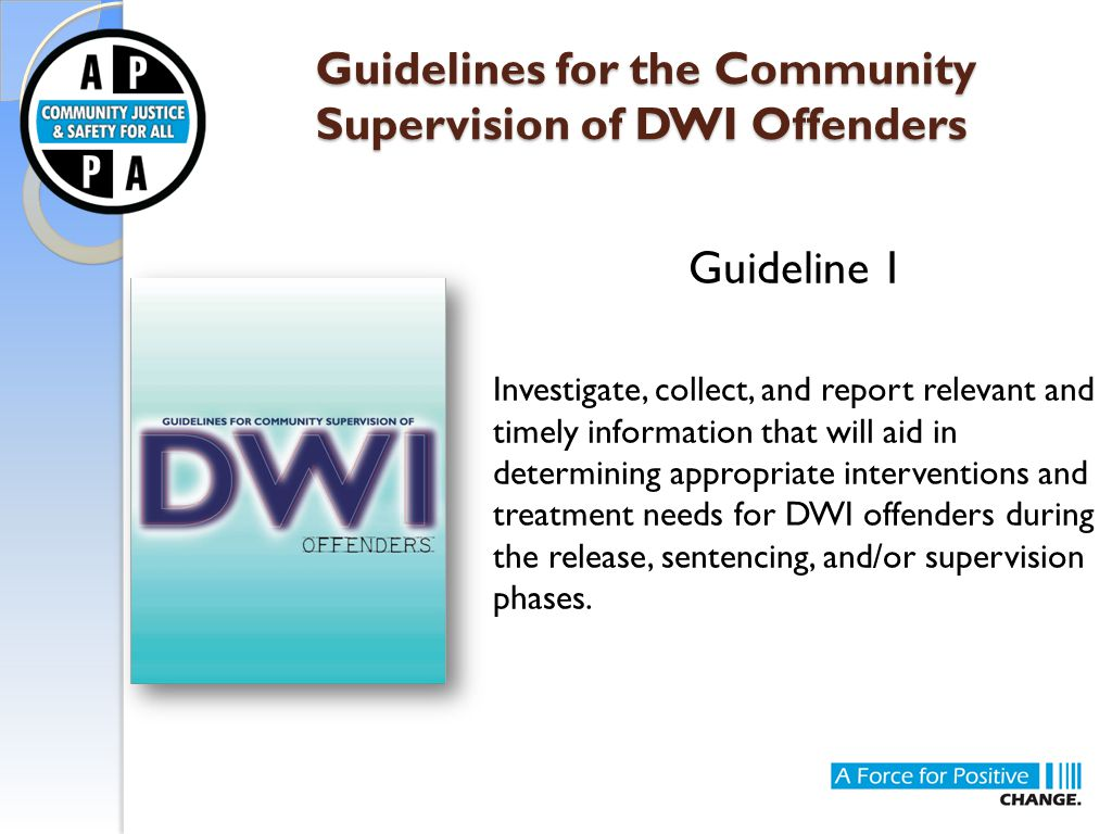 Guidelines for the Community Supervision of DWI Offenders Guidelines for the Community Supervision of DWI Offenders Guideline 1 Investigate, collect,