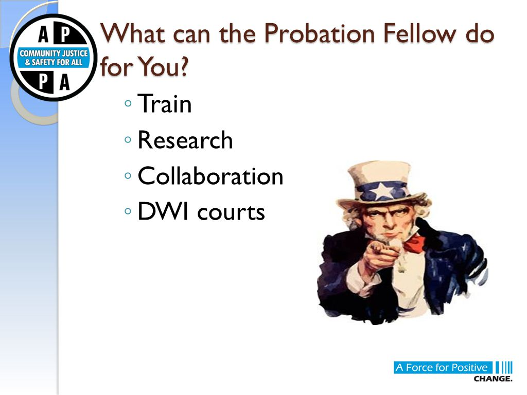 What can the Probation Fellow do for You? ◦ Train ◦ Research ◦ Collaboration ◦ DWI courts