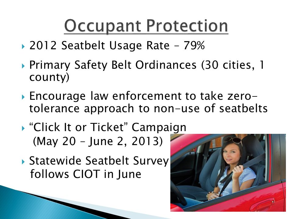 2012 Seatbelt Usage Rate – 79%  Primary Safety Belt Ordinances (30 cities, 1 county)  Encourage law enforcement to take zero- tolerance approach to non-use of seatbelts  Click It or Ticket Campaign (May 20 – June 2, 2013)  Statewide Seatbelt Survey follows CIOT in June