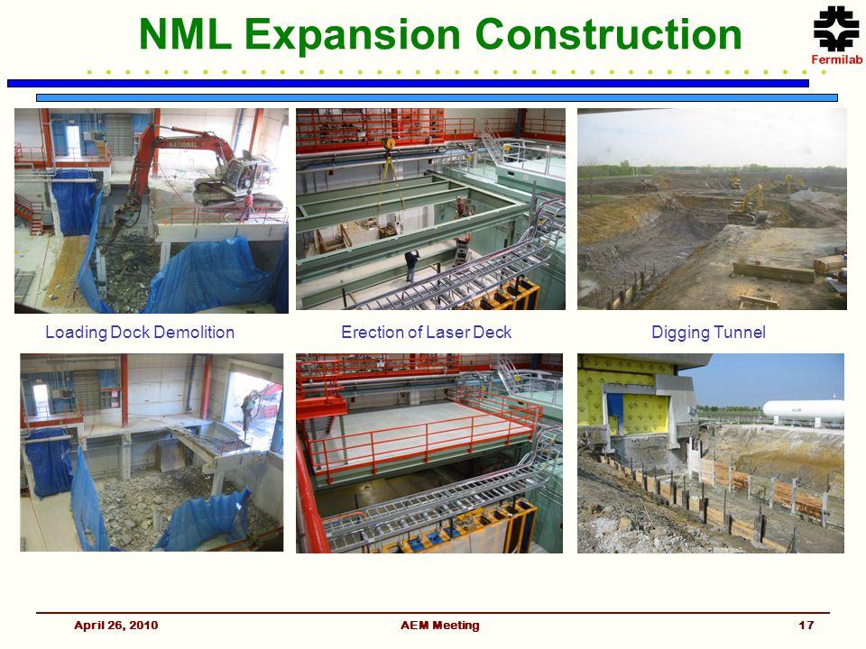 NML Expansion Construction April 26, 2010AEM Meeting Digging TunnelErection of Laser DeckLoading Dock Demolition 17