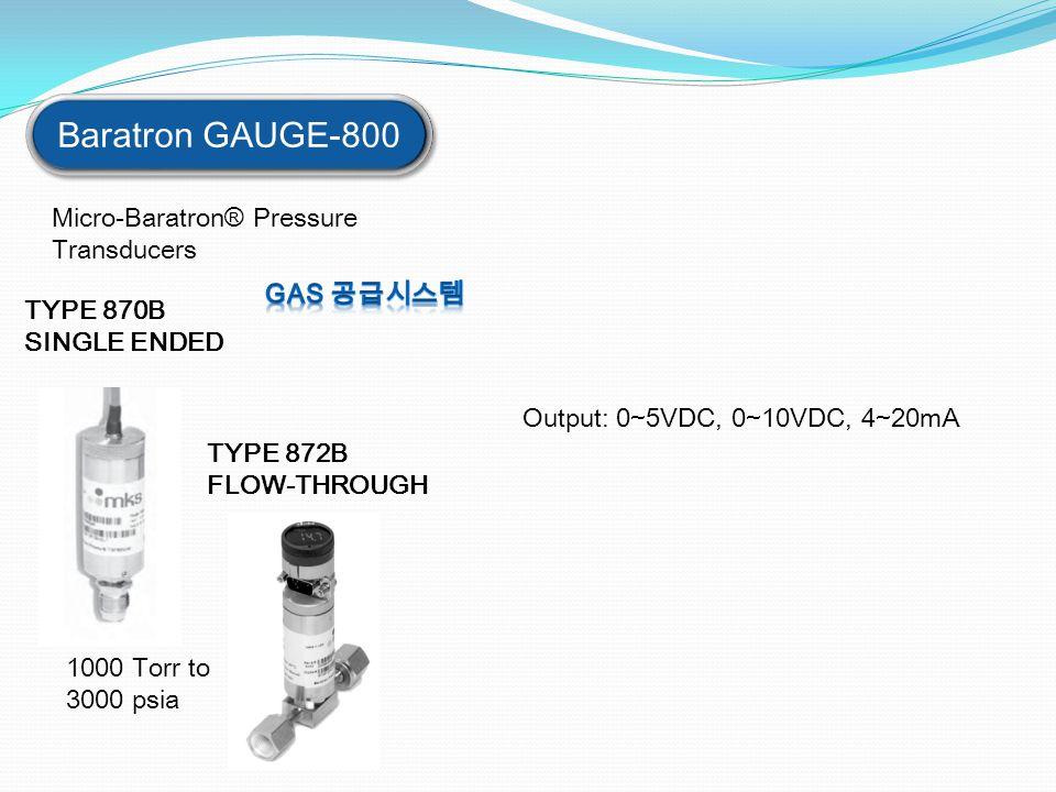 Baratron GAUGE-800 Micro-Baratron® Pressure Transducers TYPE 872B FLOW-THROUGH TYPE 870B SINGLE ENDED 1000 Torr to 3000 psia Output: 0~5VDC, 0~10VDC,