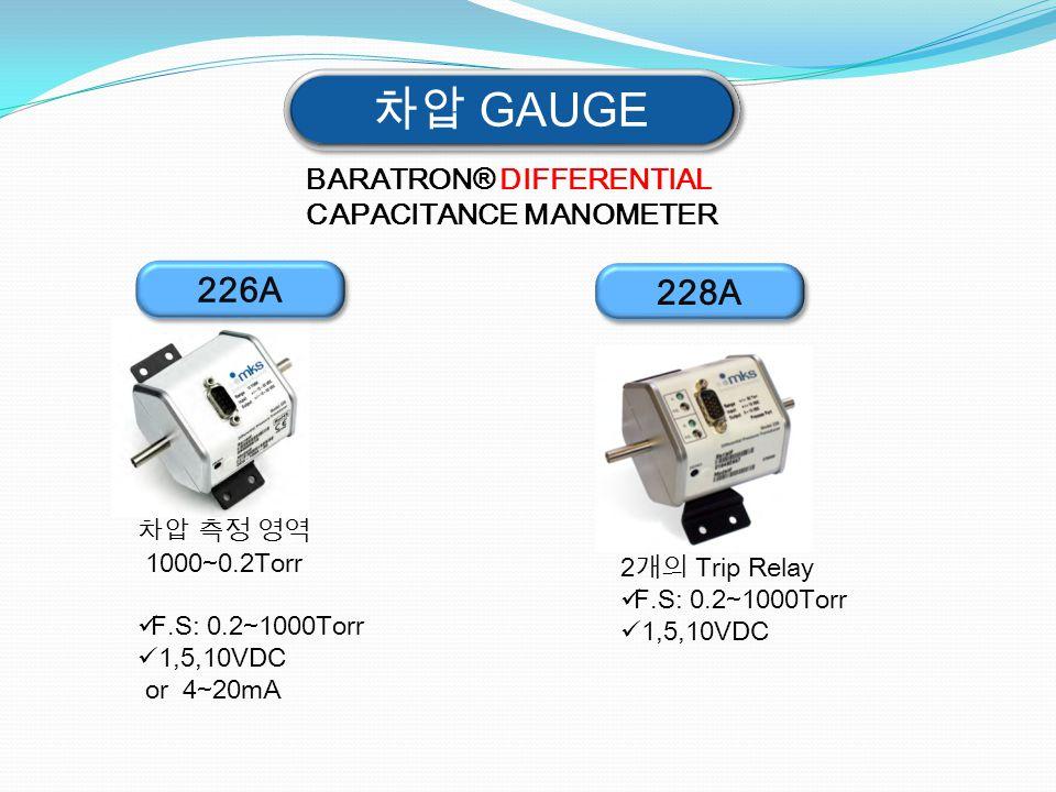 차압 GAUGE 226A BARATRON® DIFFERENTIAL CAPACITANCE MANOMETER 차압 측정 영역 1000~0.2Torr F.S: 0.2~1000Torr 1,5,10VDC or 4~20mA 228A 2개의 Trip Relay F.S: 0.2~10