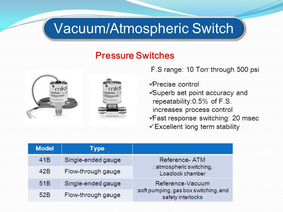 Vacuum/Atmospheric Switch ModelType 41BSingle-ended gaugeReference- ATM : atmospheric switching, Loadlock chamber 42BFlow-through gauge 51BSingle-ende