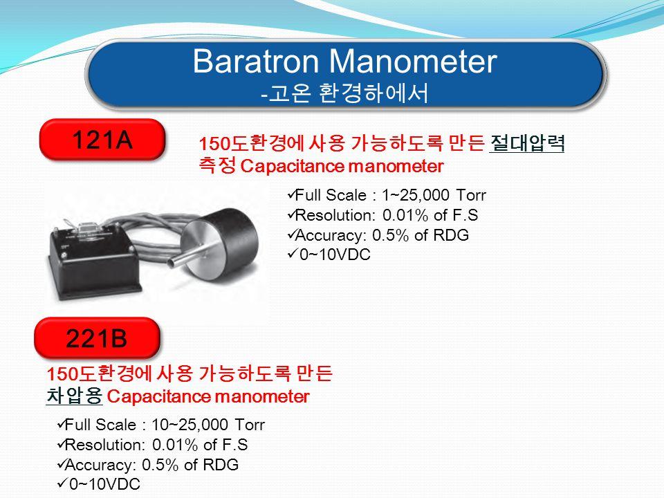 Baratron Manometer -고온 환경하에서 Baratron Manometer -고온 환경하에서 121A 150도환경에 사용 가능하도록 만든 절대압력 측정 Capacitance manometer Full Scale : 1~25,000 Torr Resolution