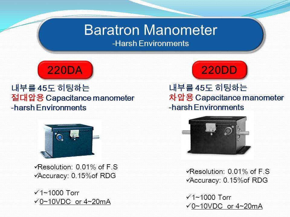Baratron Manometer -Harsh Environments Baratron Manometer -Harsh Environments 220DA 내부를 45도 히팅하는 절대압용 Capacitance manometer -harsh Environments Resolu