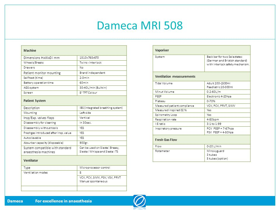 DamecaFor excellence in anaesthesia Dameca MRI 508 Vaporiser SystemBack bar for two Selectatec (German and Bristish standard) with interlock safety me