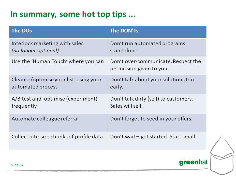 Slide 34 In summary, some hot top tips...