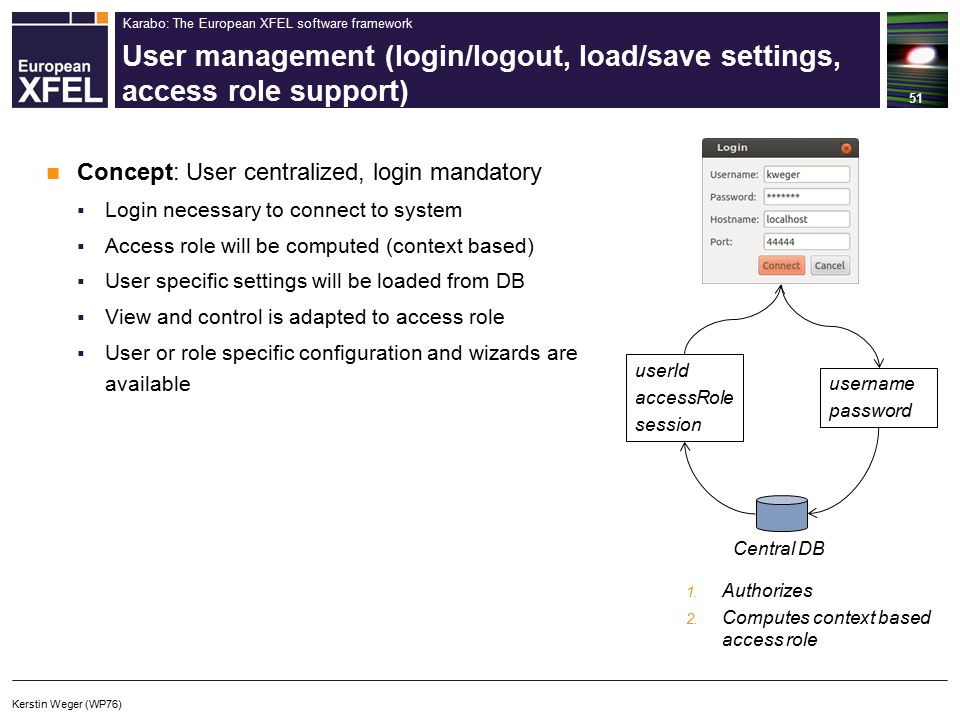 Karabo: The European XFEL software framework User management (login/logout, load/save settings, access role support) 51 Concept: User centralized, login mandatory  Login necessary to connect to system  Access role will be computed (context based)  User specific settings will be loaded from DB  View and control is adapted to access role  User or role specific configuration and wizards are available Central DB 1.