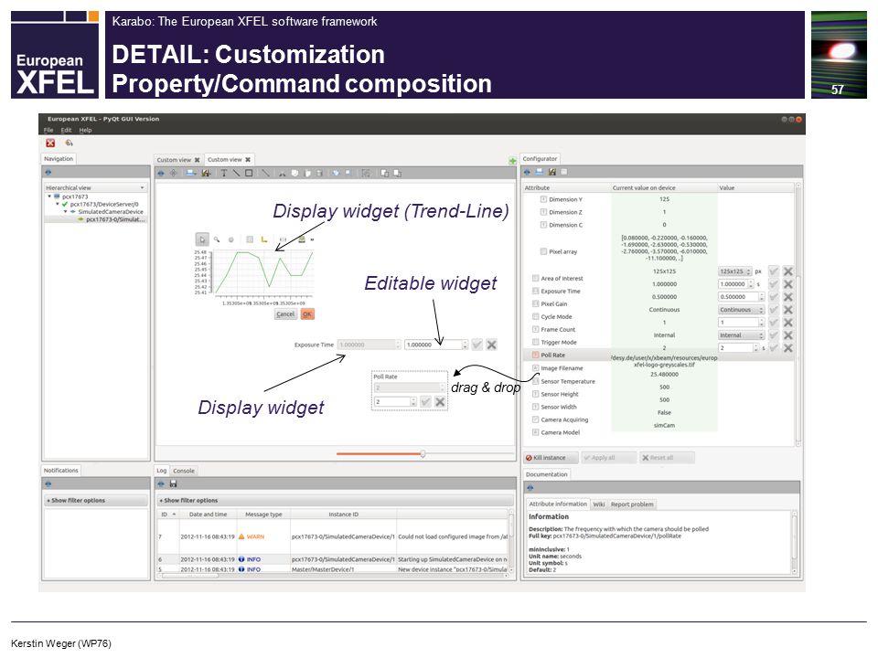 Karabo: The European XFEL software framework DETAIL: Customization Property/Command composition 57 drag & drop Display widget (Trend-Line) Display widget Editable widget Kerstin Weger (WP76)