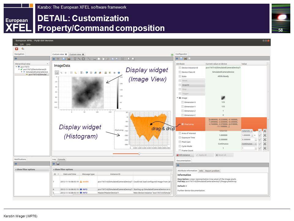 Karabo: The European XFEL software framework DETAIL: Customization Property/Command composition 58 drag & drop Display widget (Image View) Display widget (Histogram) Kerstin Weger (WP76)