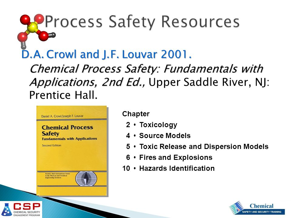 Process Safety Resources D. A. Crowl and J. F. Louvar 2001.