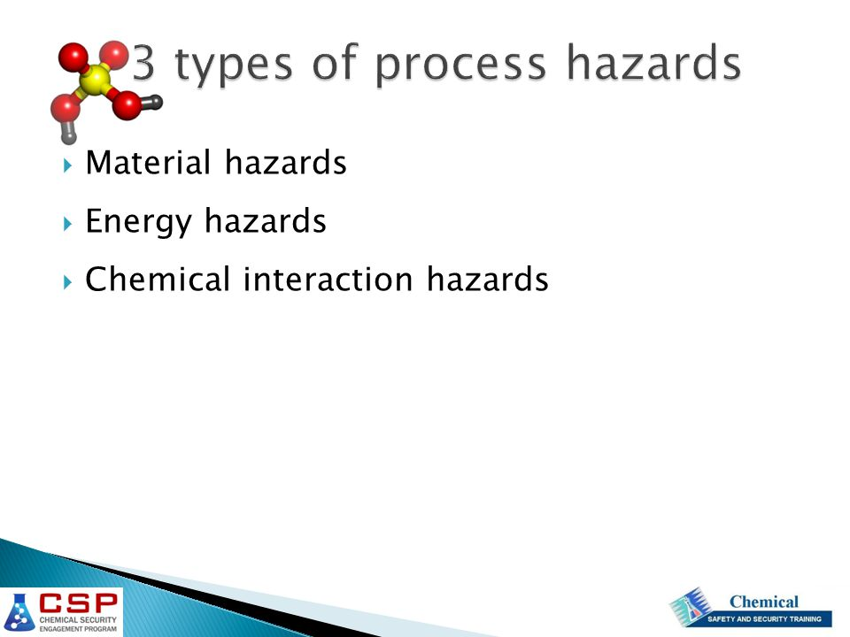  Material hazards  Energy hazards  Chemical interaction hazards