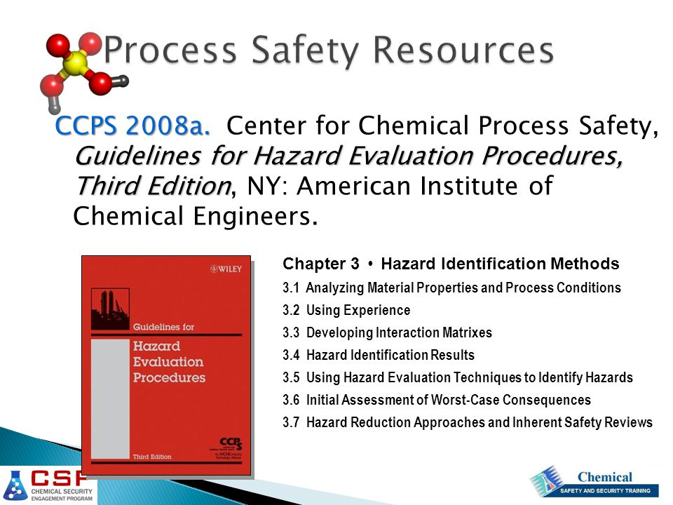 CCPS 2008a. Guidelines for Hazard Evaluation Procedures, Third Edition CCPS 2008a.