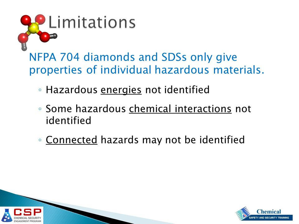 Limitations NFPA 704 diamonds and SDSs only give properties of individual hazardous materials.