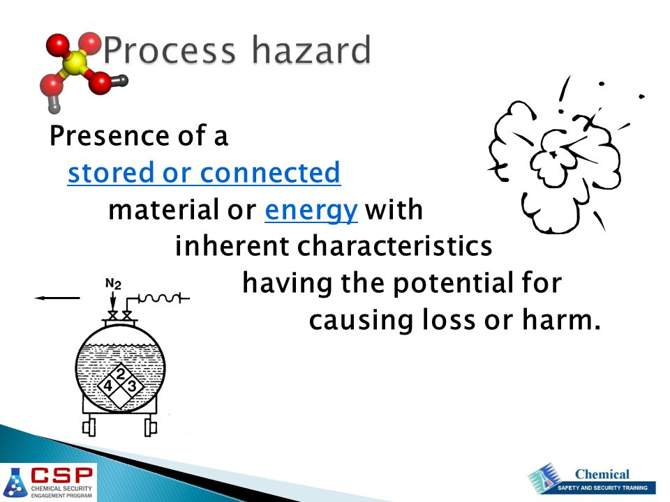 Presence of a stored or connected material or energy with inherent characteristics having the potential for causing loss or harm.