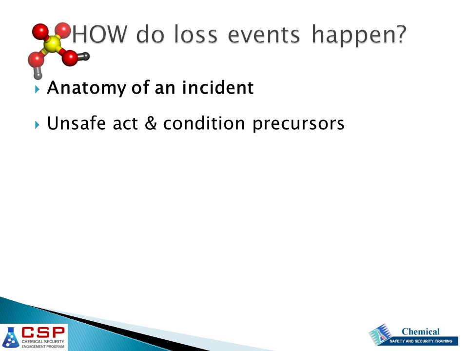 HOW do loss events happen  Anatomy of an incident  Unsafe act & condition precursors