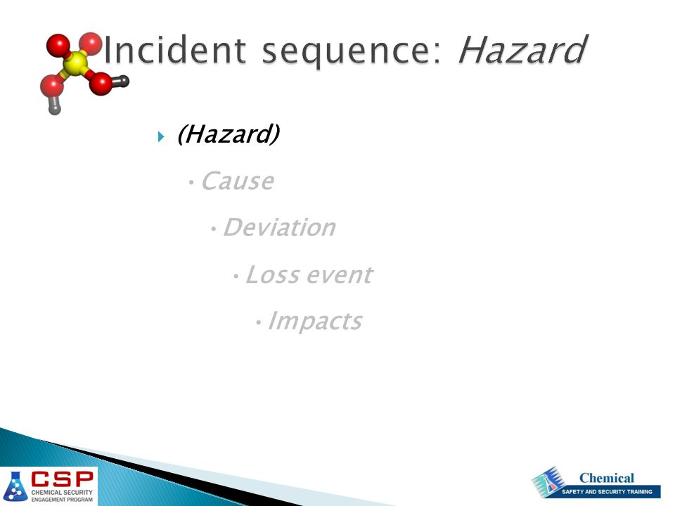 Incident sequence: Hazard  (Hazard) Cause Deviation Loss event Impacts