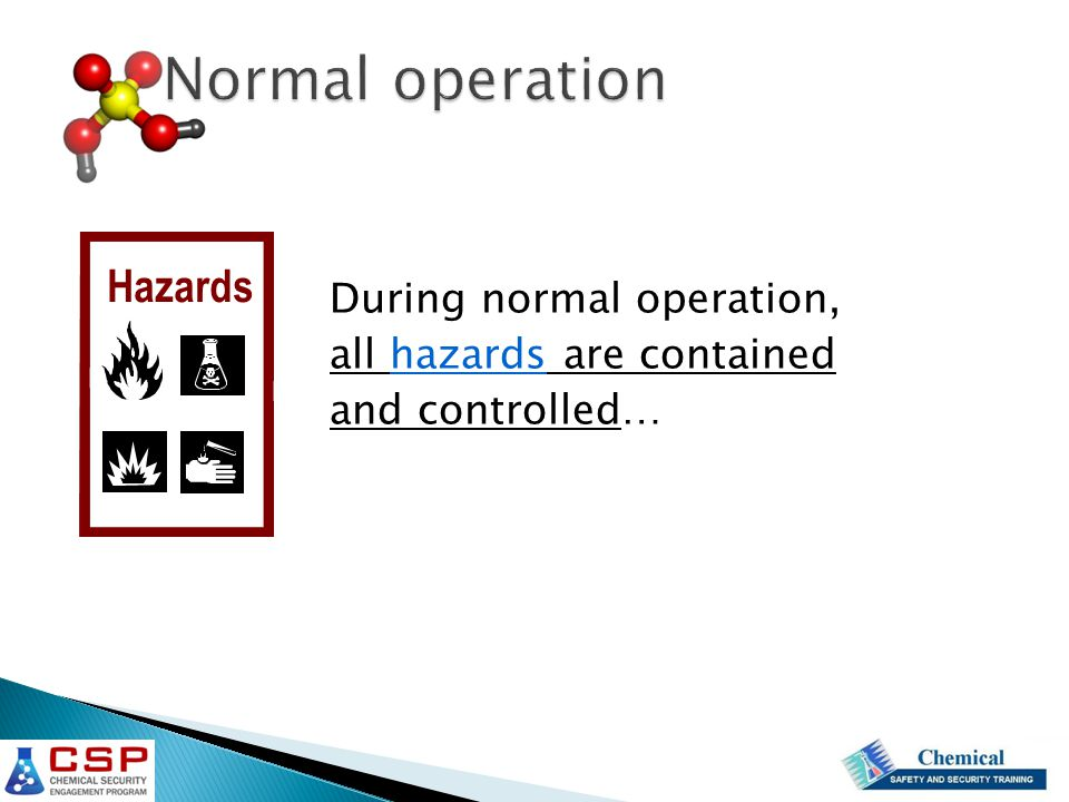 Normal operation During normal operation, all hazards are contained and controlled… Hazards