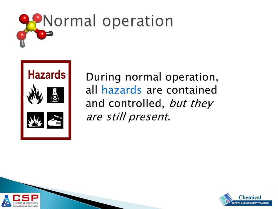 During normal operation, all hazards are contained and controlled, but they are still present.