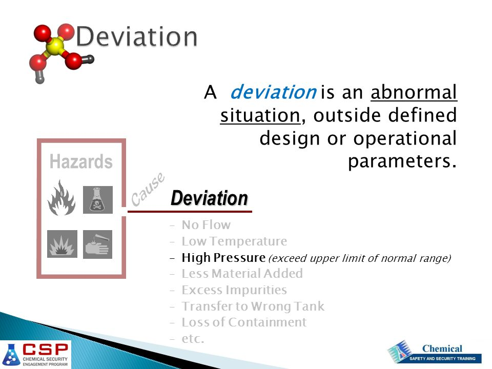A deviation is an abnormal situation, outside defined design or operational parameters.