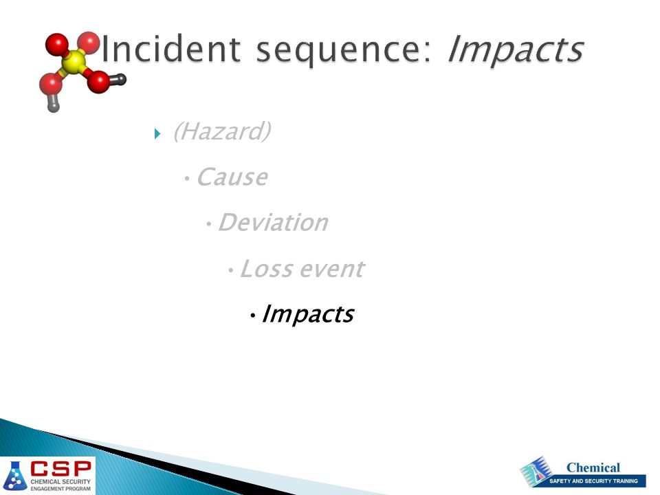 Incident sequence: Impacts  (Hazard) Cause Deviation Loss event Impacts