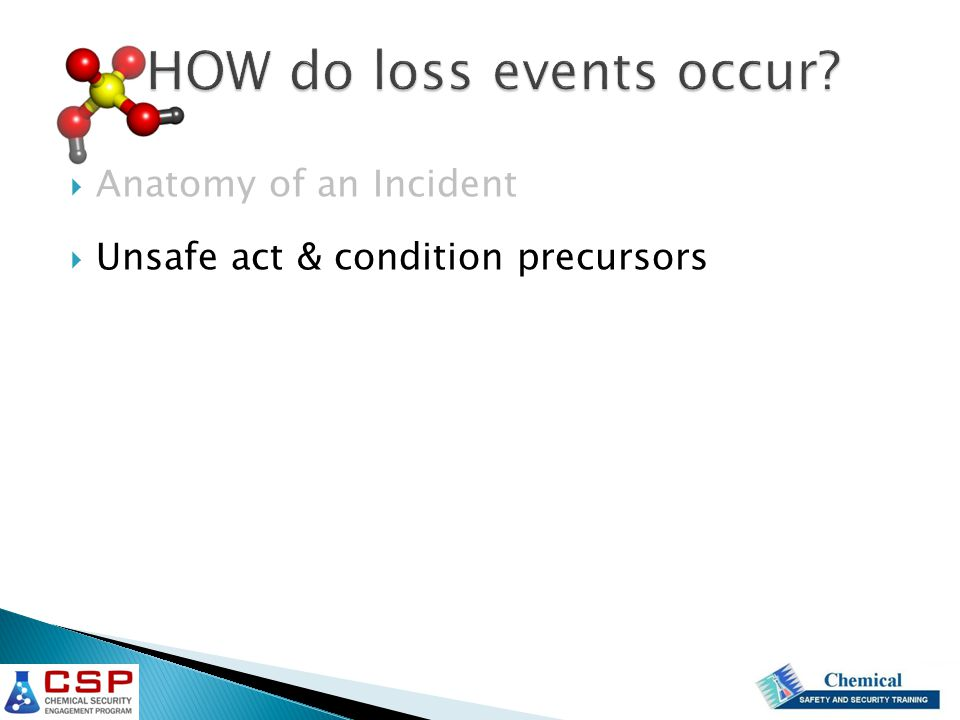 HOW do loss events occur  Anatomy of an Incident  Unsafe act & condition precursors