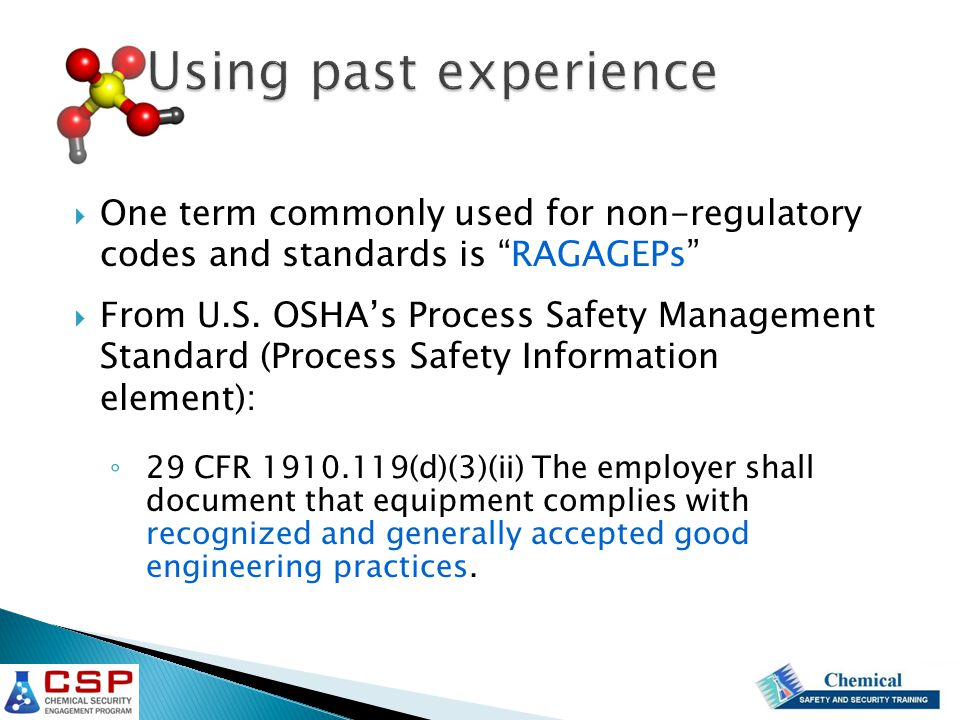  One term commonly used for non-regulatory codes and standards is RAGAGEPs  From U.S.