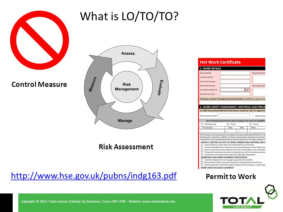Copyright © 2013: Total Lockout (Safety) Ltd, Braintree, Essex, CM7 2YW – Website: www.totallockout.com Control Measure Risk Assessment Permit to Work What is LO/TO/TO.