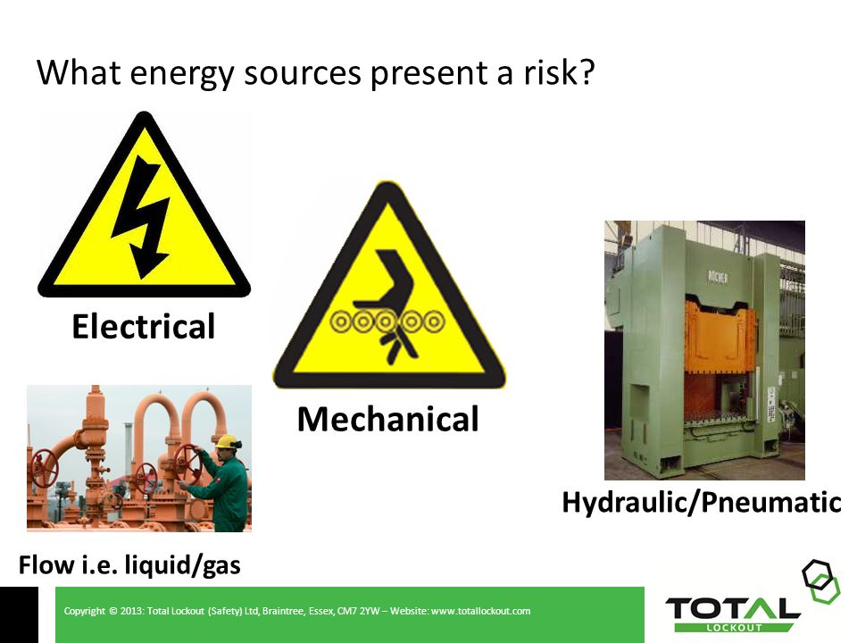 Copyright © 2013: Total Lockout (Safety) Ltd, Braintree, Essex, CM7 2YW – Website: www.totallockout.com What energy sources present a risk.