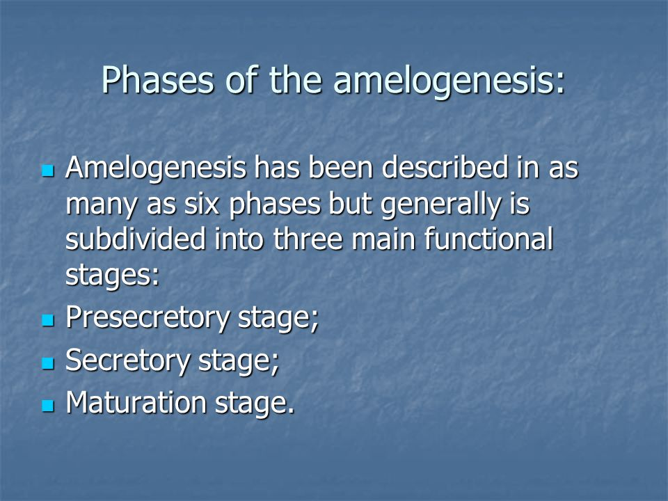 Phases of the amelogenesis: Amelogenesis has been described in as many as six phases but generally is subdivided into three main functional stages: Amelogenesis has been described in as many as six phases but generally is subdivided into three main functional stages: Presecretory stage; Presecretory stage; Secretory stage; Secretory stage; Мaturation stage.