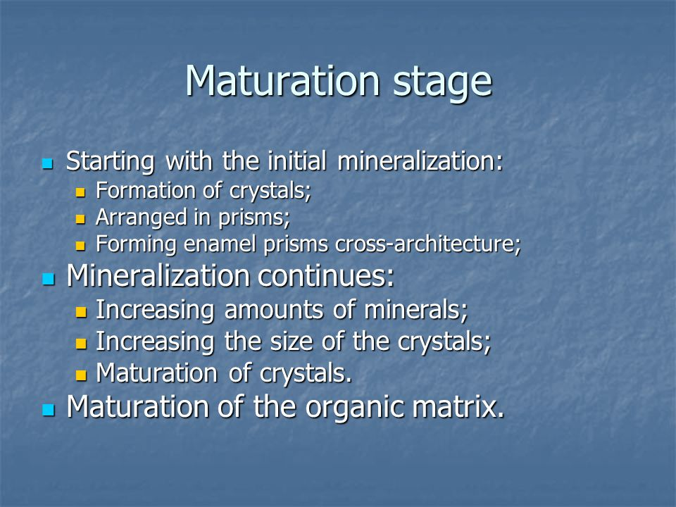 Maturation stage Starting with the initial mineralization: Starting with the initial mineralization: Formation of crystals; Formation of crystals; Arranged in prisms; Arranged in prisms; Forming enamel prisms cross-architecture; Forming enamel prisms cross-architecture; Mineralization continues: Mineralization continues: Increasing amounts of minerals; Increasing amounts of minerals; Increasing the size of the crystals; Increasing the size of the crystals; Maturation of crystals.