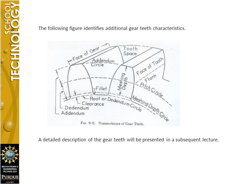 The following figure identifies additional gear teeth characteristics.