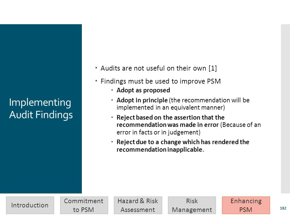 Implementing Audit Findings  Audits are not useful on their own [1]  Findings must be used to improve PSM  Adopt as proposed  Adopt in principle (