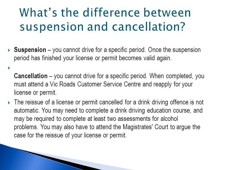  Suspension – you cannot drive for a specific period.