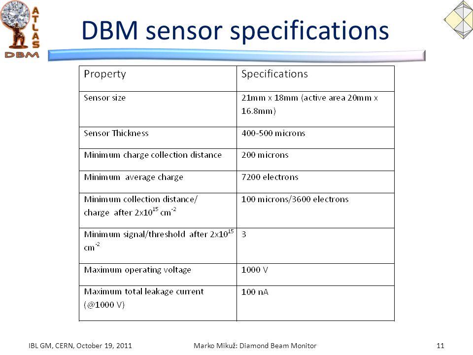 DBM sensor specifications IBL GM, CERN, October 19, 2011Marko Mikuž: Diamond Beam Monitor11