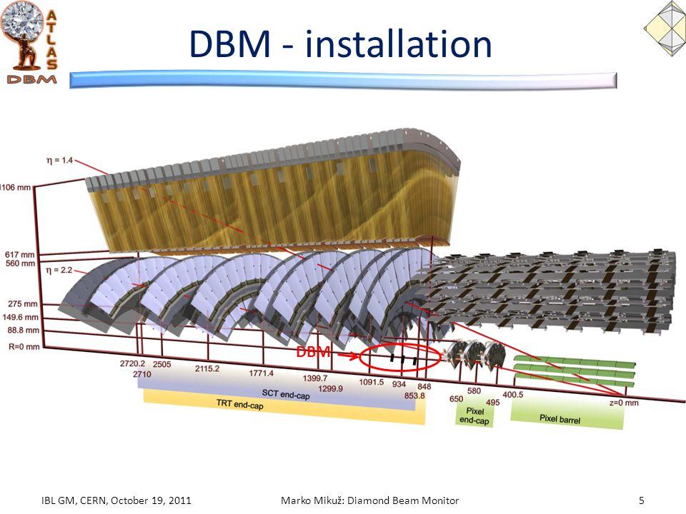 DBM - installation IBL GM, CERN, October 19, 2011Marko Mikuž: Diamond Beam Monitor5 DBM