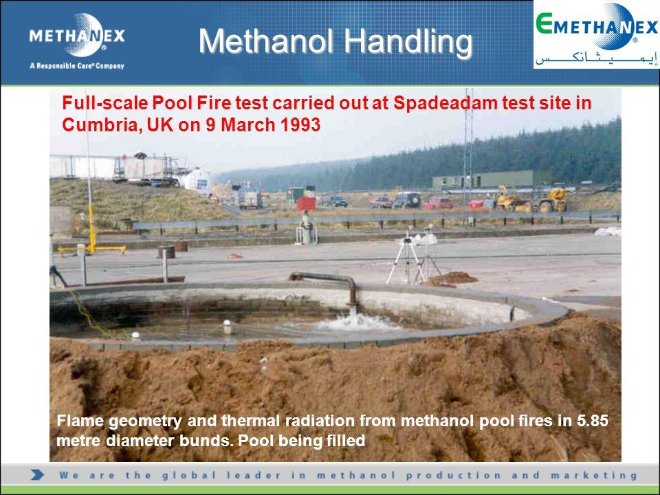 Flame geometry and thermal radiation from methanol pool fires in 5.85 metre diameter bunds.