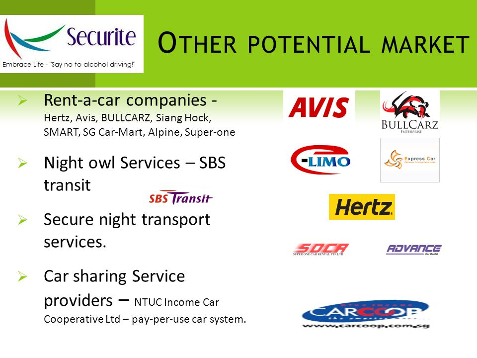 O THER POTENTIAL MARKET  Rent-a-car companies - Hertz, Avis, BULLCARZ, Siang Hock, SMART, SG Car-Mart, Alpine, Super-one  Night owl Services – SBS transit  Secure night transport services.