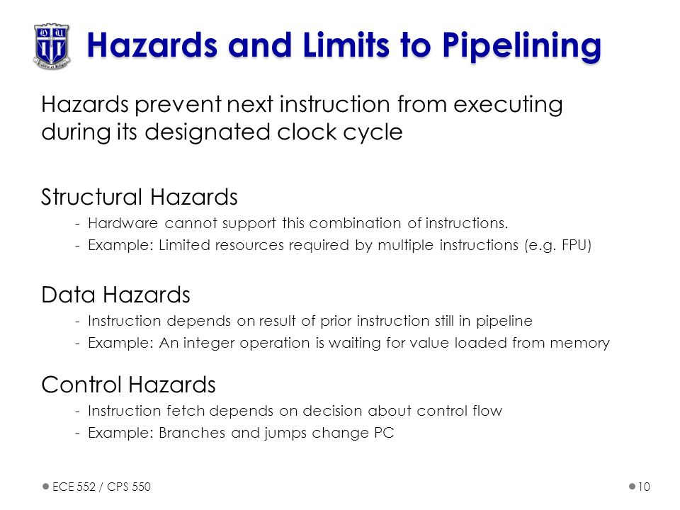 ECE 552 / CPS 55010 Hazards and Limits to Pipelining Hazards prevent next instruction from executing during its designated clock cycle Structural Hazards -Hardware cannot support this combination of instructions.