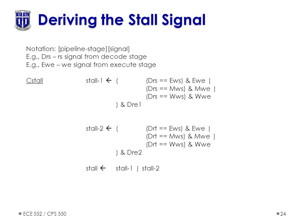 ECE 552 / CPS 55024 Deriving the Stall Signal Notation: [pipeline-stage][signal] E.g., Drs – rs signal from decode stage E.g., Ewe – we signal from execute stage Cstallstall-1  ((Drs == Ews) & Ewe | (Drs == Mws) & Mwe | (Drs == Wws) & Wwe ) & Dre1 stall-2  ((Drt == Ews) & Ewe | (Drt == Mws) & Mwe | (Drt == Wws) & Wwe ) & Dre2 stall  stall-1 | stall-2