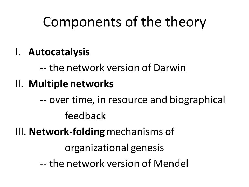 Components of the theory I. Autocatalysis -- the network version of Darwin II.