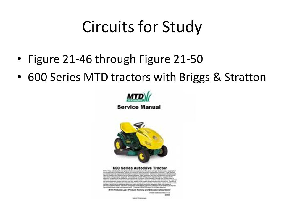 Circuits for Study Figure 21-46 through Figure 21-50 600 Series MTD tractors with Briggs & Stratton