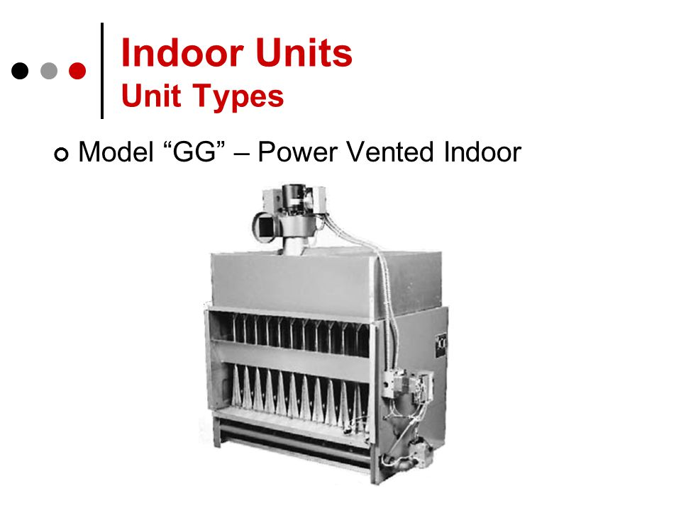 Indoor Units Unit Types Model GG – Power Vented Indoor