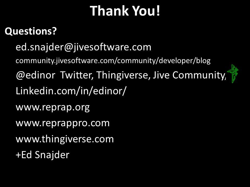 Thank You! Questions? ed.snajder@jivesoftware.com community.jivesoftware.com/community/developer/blog @edinor Twitter, Thingiverse, Jive Community, Li