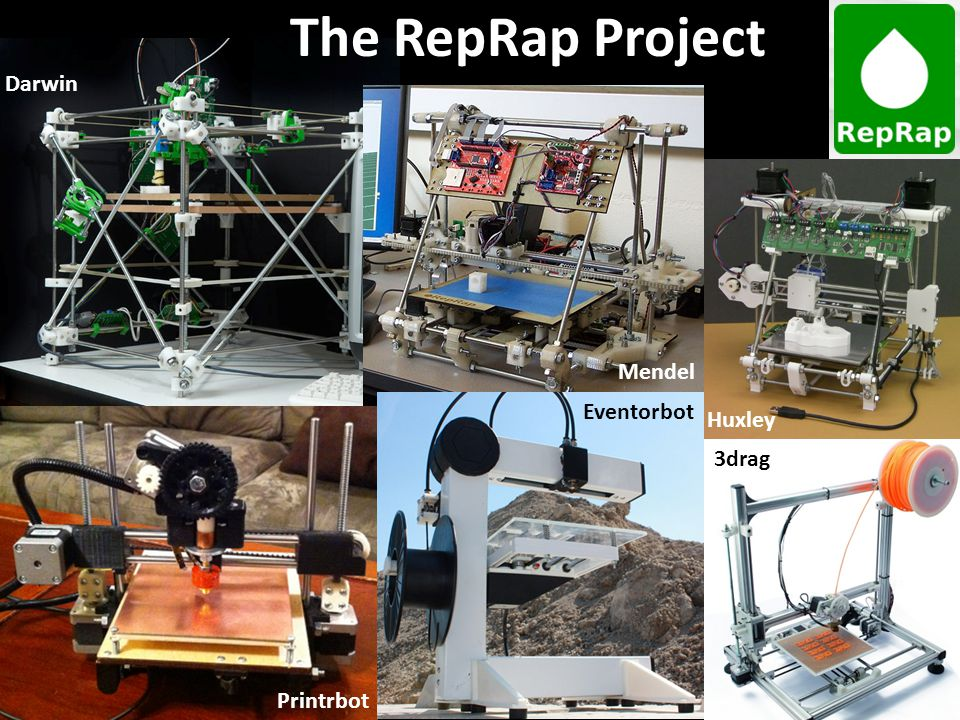 The RepRap Project Darwin Huxley Mendel Printrbot Eventorbot 3drag
